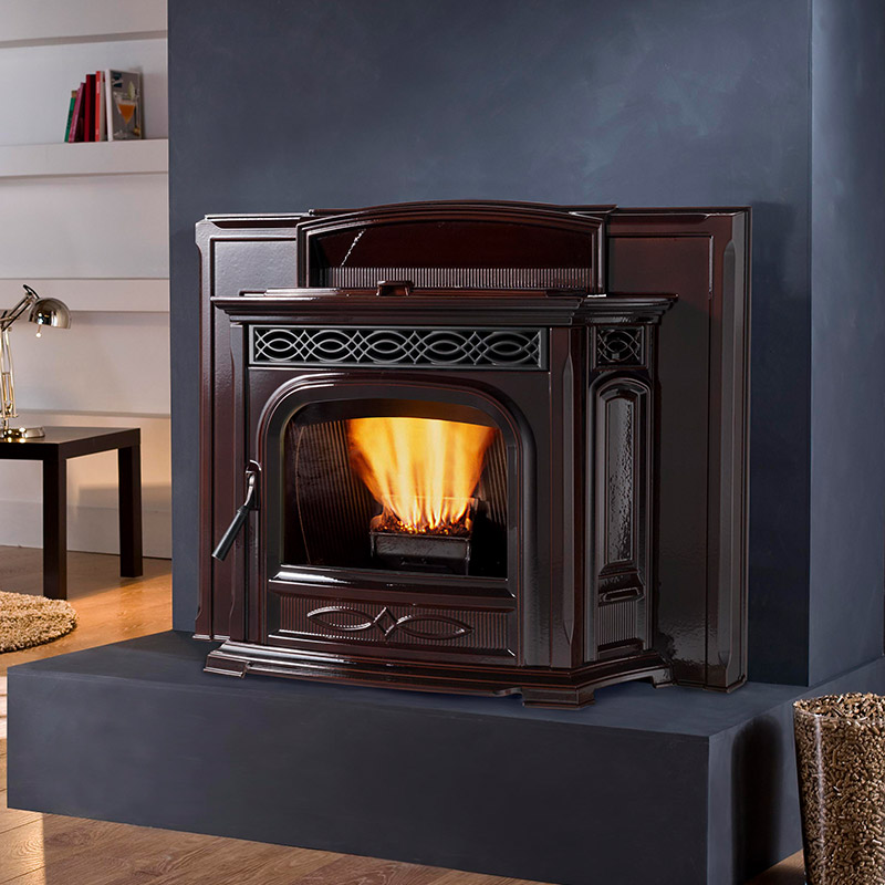 gallery products surround with flashing majolica door reflective napoleon eco product panels iron trivet mirro flame trim fireplace prrp radiant pellet insert phazer black porcelain in and cast logs wood